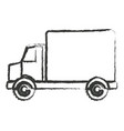 monochrome blurred silhouette of truck with wagon vector image vector image