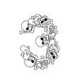 Number 3 skeleton bones font three anatomy of an vector image