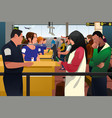 people being checked immigration line in the vector image vector image