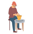 pottery hobby hipster man making pots from clay vector image vector image