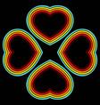 retro hearts lines background vector image vector image