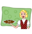 Retro housewife holding a cookie vector image vector image