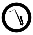 saxophone black icon in circle vector image vector image
