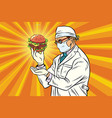 scientist nutritionist and burger fast food vector image vector image