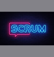 scrum neon text scrum process neon sign vector image