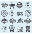 seafood labels and butcher shop vector image vector image