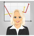 senior businesswoman with rising arrow vector image