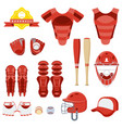 set of baseball eqipment red vector image