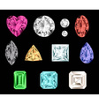 Set of colorful gemstones vector image