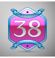 Thirty eight years anniversary celebration silver vector image vector image