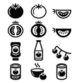 Tomato ketchup tomato soup icons set vector image vector image
