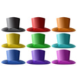 Top hats in nine different colors vector image vector image