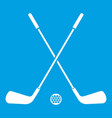 two crossed golf clubs and ball icon white vector image vector image