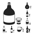 types of alcohol black icons in set collection for vector image vector image