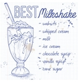 Vanila milkshake recipe on a notebook page vector image