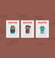 wanted criminals banner template placards with vector image vector image