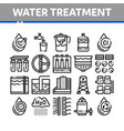 water treatment items thin line icons set vector image