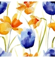 Watercolor flowers seamless pattern vector image vector image