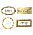 Watercolor frames with wood texture vector image vector image