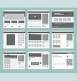 web pages layout internet browser windows vector image
