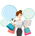 Woman with notebook smartphone shopping bag vector image