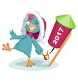 Blue Rooster Santa symbol 2017 to light fireworks vector image