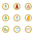 baby mother icon set cartoon style vector image