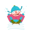 Fun Winter and Snow Sledge Ride Boy vector image