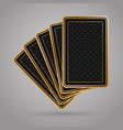5 poker playing cards in black and gold design vector image vector image