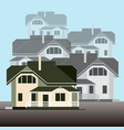 a group of detached houses on a light blue vector image vector image