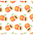 background with juicy peaches whole and half vector image vector image