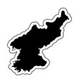black silhouette of the country north korea with vector image
