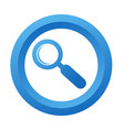 blue button with magnifying glass icon on white vector image