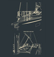 bow and deck a sailing yacht sketches vector image vector image