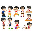 boy doing different actions vector image vector image