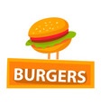 burger with bun and lettuce meat and greenery vector image vector image