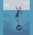 businesswoman drowning chained with a weight loan vector image vector image