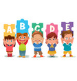 children holding alphabet puzzle cards vector image vector image