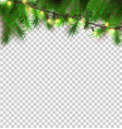 christmas light realistic garland spruce vector image vector image
