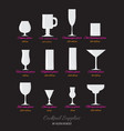 cocktails glasses set vector image