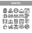 collection hostel elements sign icons set vector image