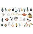 collection vintage merry christmas and happy vector image