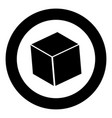 cube black icon in circle vector image