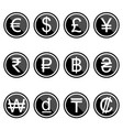 currency symbols icons simple black-colored set vector image