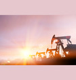 dark silhouette drilling rig and pump during vector image vector image