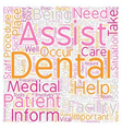 Dental Assistant Emergency Care text background vector image vector image