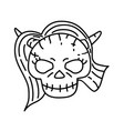 devil woman icon doodle hand drawn or black vector image