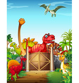 Dinosaurs in a dino park vector image