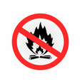 do not make camp fire sign icon vector image vector image