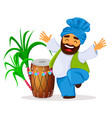 drum sugarcane and funny dancing sikh man vector image vector image